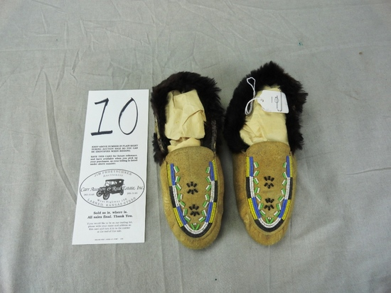 Pair of Youth Beaded Moccasins, Fur Trimmed