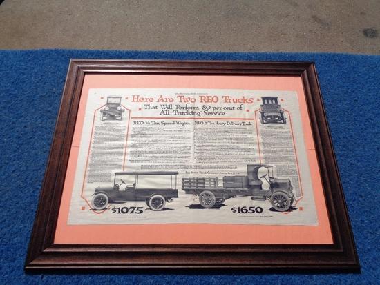 Two REO Trucks Framed Advertising