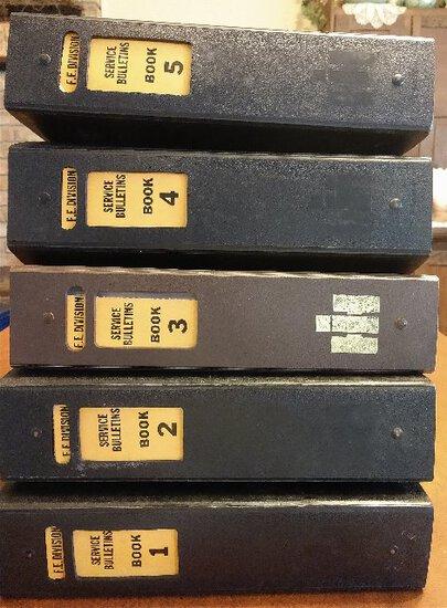 F.E. Division Service Bulletins, Book 1 thru 5 (set of 5 manuals)