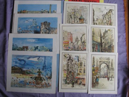 Lot 12. Three sets of collector color prints in original vintage folders: V