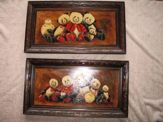 Lot 7. Two framed oil on board Kathy Karas Panda original paintings 'Pandam