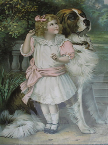 Lot 8. Superb c1900 Victorian Lithograph 57cm X 42cm wide of a girl with St