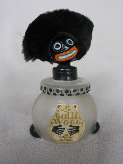"""Lot 2. Satin glass c1919 Vigny """"Le Golliwogg"""" perfume bottle 3"""" (7.5cm) wit"""