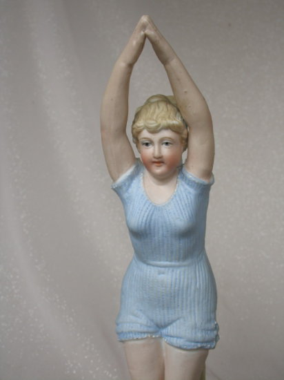 """Lot 10. Bisque """"The Bather"""" figurine 23cm attributed to New York & Rudolsta"""
