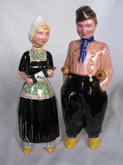 "Two 1950-60s Zenith Gouda ""Bols"" Figural liquor decanters 26-27cm. Ceramic"