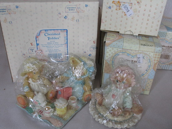 "MIB seven Enesco ""Cherised Teddies"" resin figurines includes Joshua, Freda"