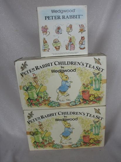 "Two MIB Wedgwood ""Peter Rabbit"" six piece Tea Sets. Also MIB plate 13cm cer"