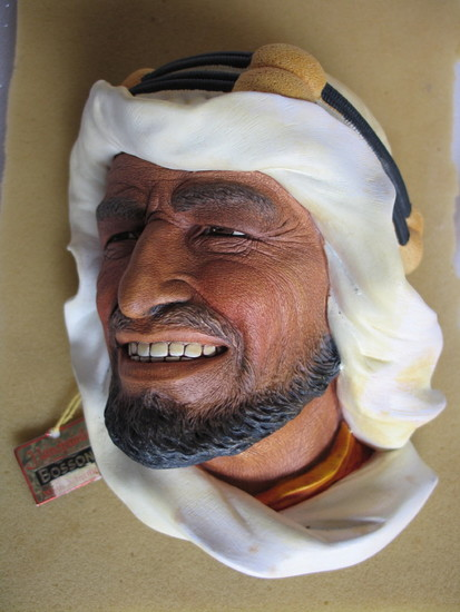 Boxed Collectibles:- Bossoms 1960s 'Karim' chalk ware wall mask 18cm. Enesc