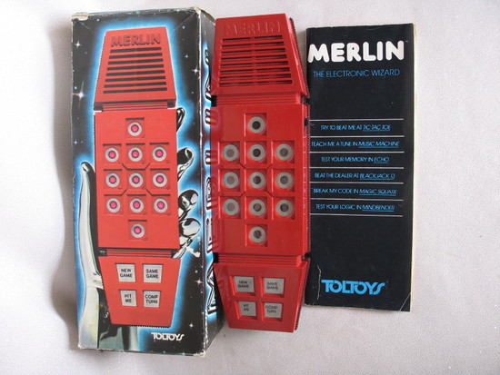 """Mint boxed 1978 """"Merlin"""" Toltoys/Parker Bros hand held electronic b/o game,"""