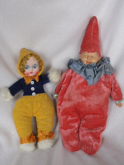 Two Child Toys:- Schildkrot celluloid head 1930s clown 40cm with large sque