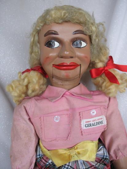All original L.J. Sterne Geraldine Gee 1960s Ventriloquist doll. Gerry Gee'