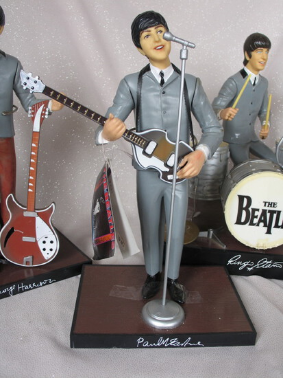 Set of Hamilton 1991 Beatles figures and instruments. One of Ringo's symbal