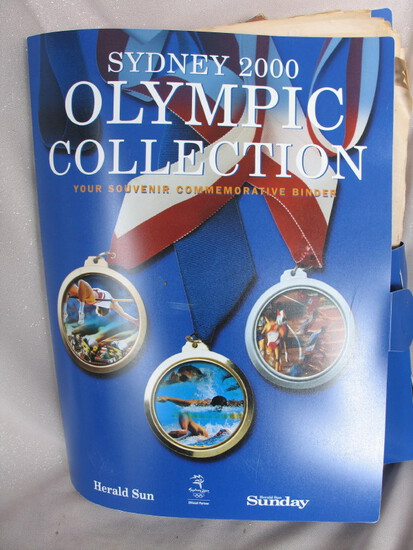 Collection 2000 Olympics memorabilia. MIB Gold Medalists Aust Post Stamp Al