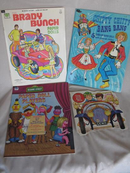 Ninet uncut 1968-70s Paper Doll books. Whitman Brady Bunch 1973, Three Whit