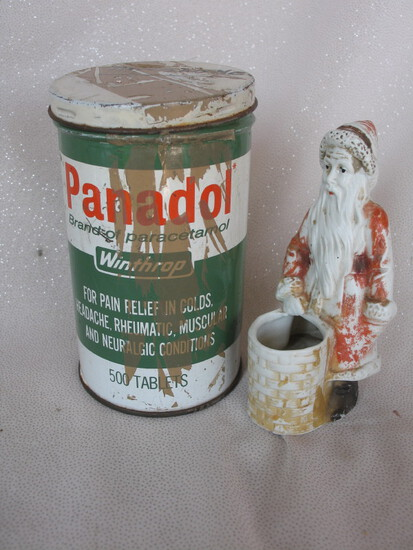 Winthrop Panadol 500 tablet tin container 1950s with tape residue. PLUS All