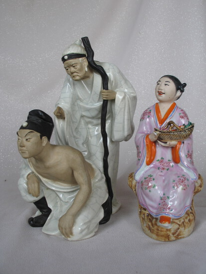 Vintage Chinese Pottery Figures:- Boy and wise Mother 32cm, glazed white cl
