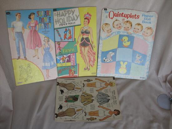 Ten uncut Vintage uncut Paper Doll books. Saalfield 1935 Quintuplets / Happ