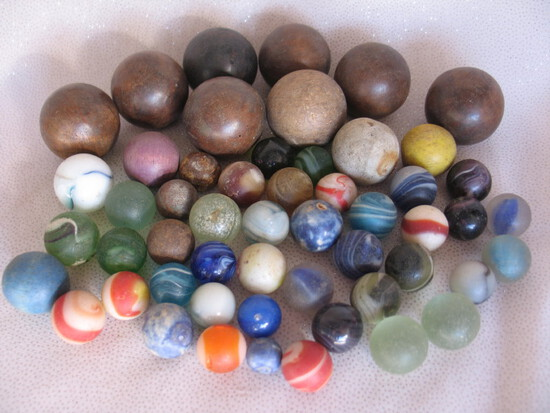 Vintage & antique wood Toys & Marbles:- Spinning top, rattle, American s/to