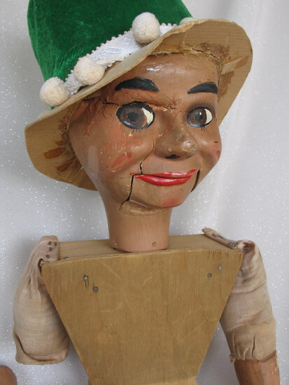 Naked L.J. Sterne Gerry Gee 1960s Ventriloquist doll. Gerry Gee with brown