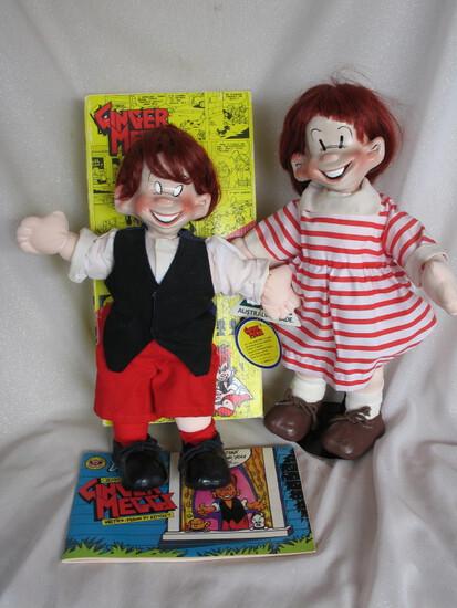 Two Anne Keane Ginger Meggs & Minnie Peters 43cm porcelain comic dolls. Gin