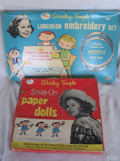 Mixed Shirley Temple 1950s Collectibles:- Gabriel boxed Snap On Paper Dolls