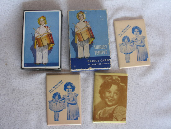 Mixed Shirley Temple collectibles:- 1930s pack of Bridge Cards in box, two