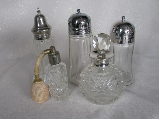 Vintage:- Perfume Stuart crystal atomiser 10cm. Also, round cut crystal per
