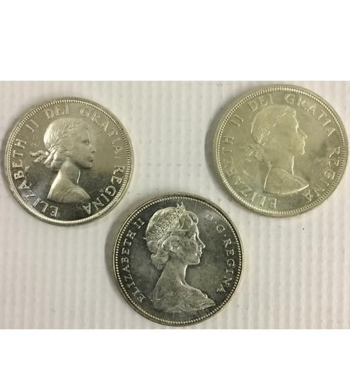 3x Canadian Silver Dollars
