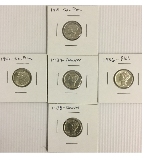 5x High Grade Mercury Dimes