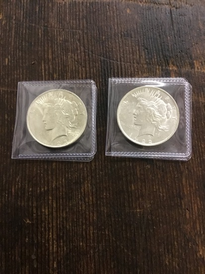 2x Peace Dollars US