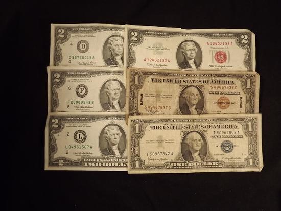 6 U.S Paper Money Bills