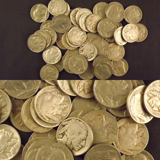 50 Buffalo Nickels with Dates