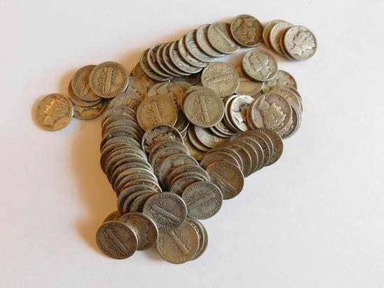 10 DOLLAR FACE VALUE OF MERCURY DIMES