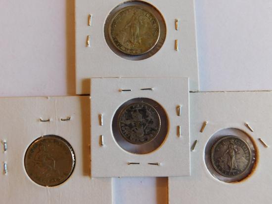 4 PHILIPINE SILVER COINS