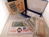 2 DOLLAR BILLS, CASINO CHIPS AND FOREIGN SILVERPLATED BILLS