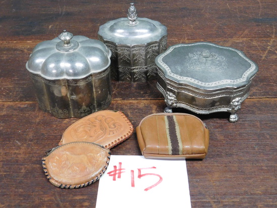 Silver Plated Trinket Boxes, Leather Change Pouches and more