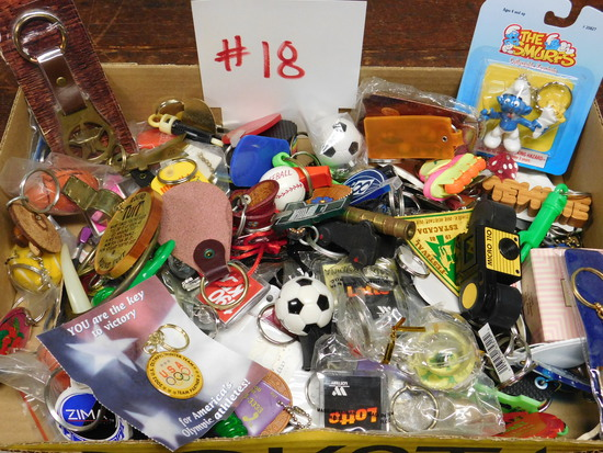 Box of Vintage Key Chains, Whistles and Toys