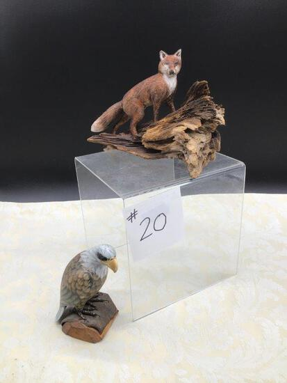 HANDMADE CRAVED FOX AND EAGLE SCUPLTURES