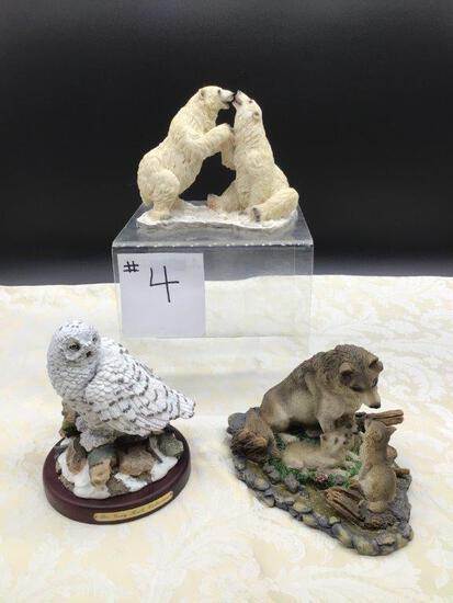 OWL, WOLVES, AND POLAR BEAR COLLECTIBLE FIGURES