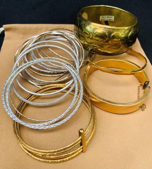 LARGE BRACELET AND HOOP EARRING LOT- 12K GOLD FILLED, BRASS, TRIFARI
