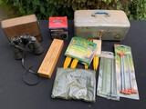 TOOLBOX, TENT STAKES, BINOCULARS AND MORE