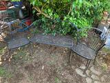 BLACK MEATAL PATIO CHAIRS AND BENCH