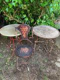 TWO UNUSUAL PATIO TABLES AND A CHAIR
