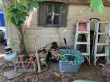 GARDENING SUPPLIES, LADDERS, PROPANE TANK AND MORE