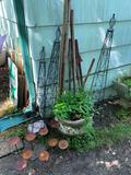 ORNATE TRELLIS' PLANT STAKES, CANDLE HOLDER AND LARGE CONCRETE PLANTER