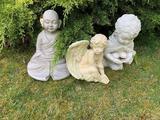 BUDDAH, CHERUB AND CHILD GARDEN STATUARY