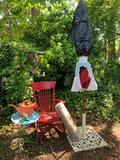 RED PATIO UMBRELLA WITH STAND AND MORE