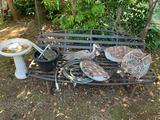 VINTAGE BIRD HOUSE, BIRDBATH, GARDEN BENCH AND MORE
