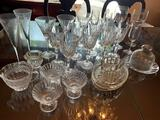 CUT CRYSTAL STEMWARE, AND SERVING DISHES