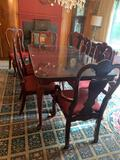 DINING TABLE, GLASS TOP, EIGHT MATCHING CHAIRS